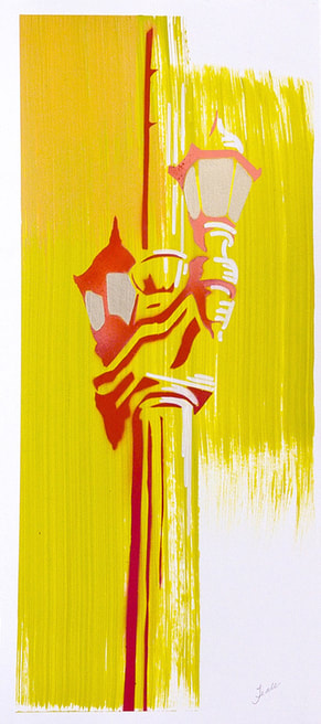 Yellow and red painting of street lantern