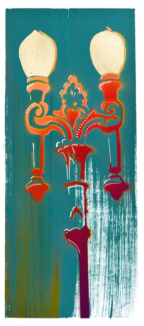 A turquoise and red painting of a Los Angeles street light